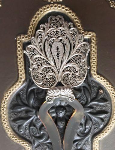 Antique Victorian Sterling Silver Hair Comb Pin Filigree Barrette Ornament