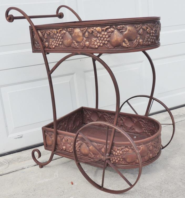 Vintage Hollywood Regency Copper Metal Rolling Serving Tea Cart Liquor Bar #3253