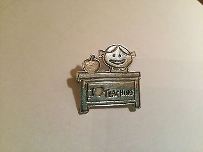 OEFS  STERLING SILVER 925  *I heart TEACHING*  DESK*APPLE*TEACHER* PIN BROOCH