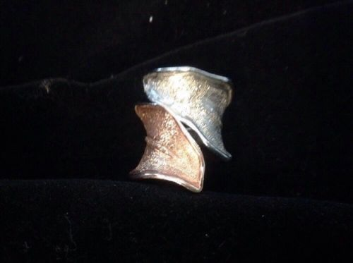 STERLING SILVER ROSE GOLD LEAF RING ITALY JCM