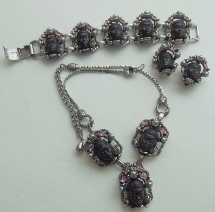 VINTAGE SELRO BLACK ASIAN PRINCESS NECKLACE BRACELET & EARRING SET