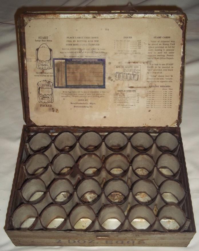 Vintage RARE Metal Two Dozen Egg Mailing Crate Fredericksburg, Virginia