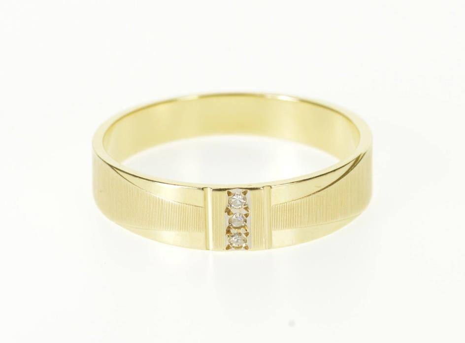 14K Diamond Channel Inset Grooved Men's Wedding Ring Size 10.5 Yellow Gold *10