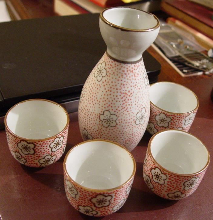 Japanese Sake Flask with Four Cups