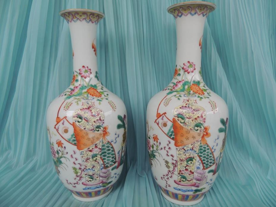 EXQUISITE CHINESE PAPER SHELL PORCELAIN VASES IRON RED QIANLONG MARK!