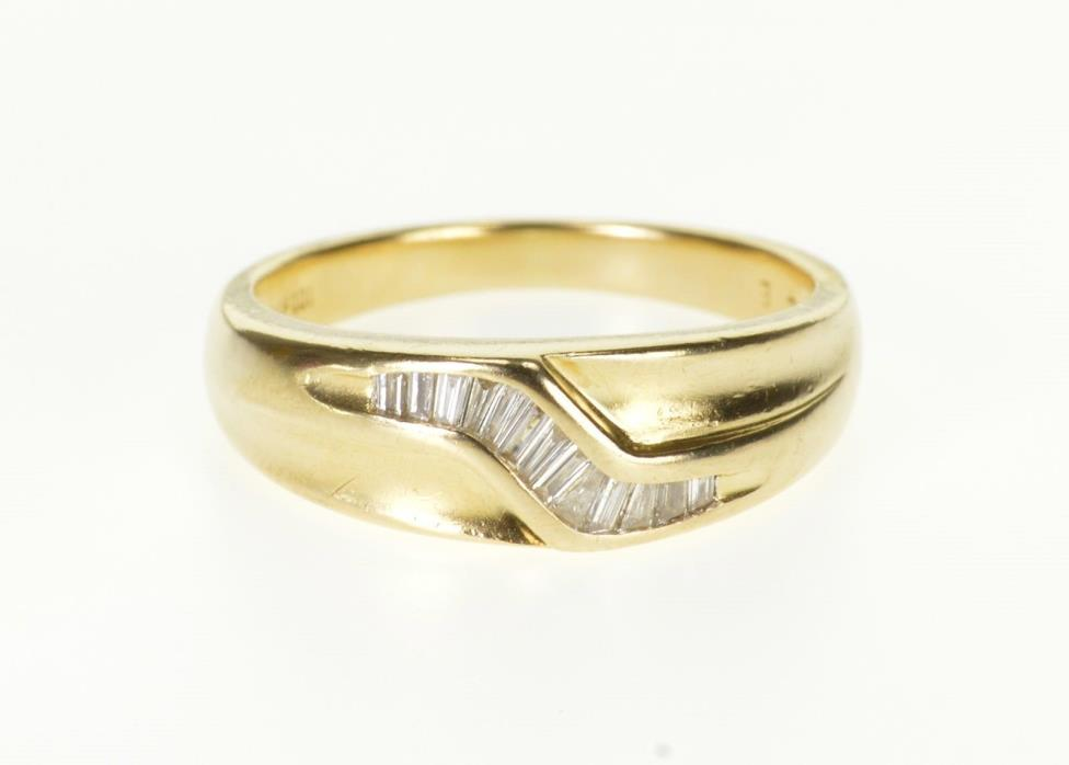 14K Baguette Diamond Wavy Channel Band Men's Ring Size 10.75 Yellow Gold *33