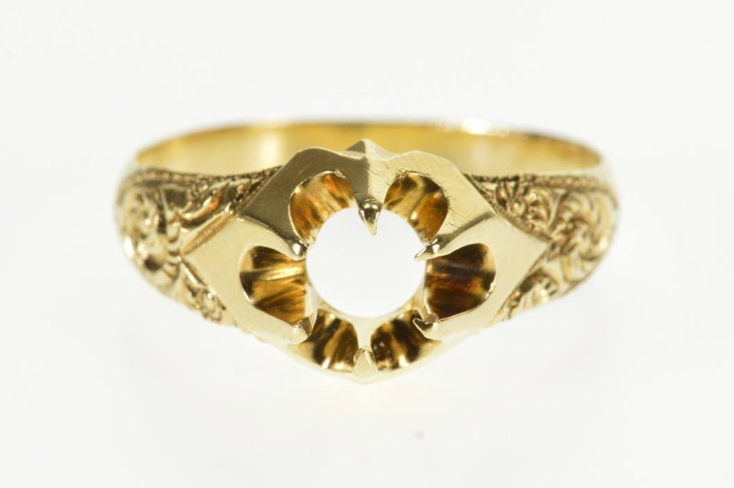 14K Victorian Ornate Gypsy Engagement Setting Ring Size 10.5 Yellow Gold *63