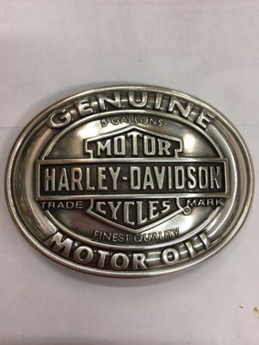 Harley Davidson- Genuine Motor Oil Bar & Shield, Men's Belt Buckle -Vintage