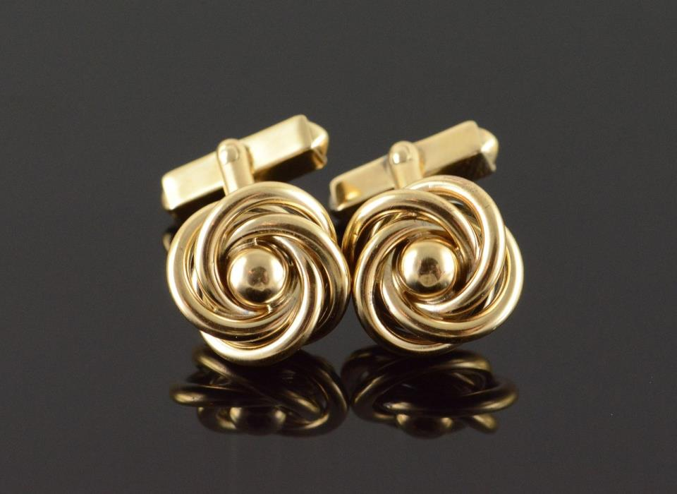 10K Swirl Knot Men's Shirt Cuff Link Yellow Gold
