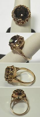 C763 Vintage 14K Solid Yellow Gold Smokey Quartz Cocktail Ring, Size 8.5