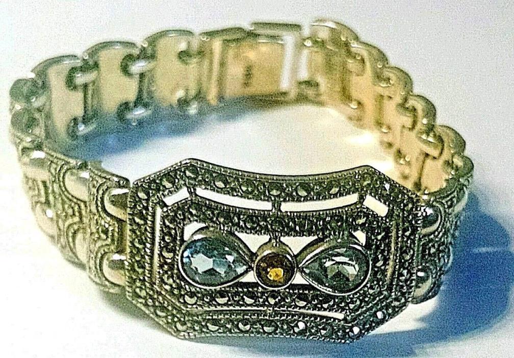 Sterling Silver Deco Link Bracelet w/ Blue Topaz Citrine Marcasite VTG 36 grams