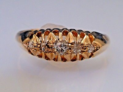 ANTIQUE VICTORIAN ROSE CUT DIAMOND RING 18K GOLD
