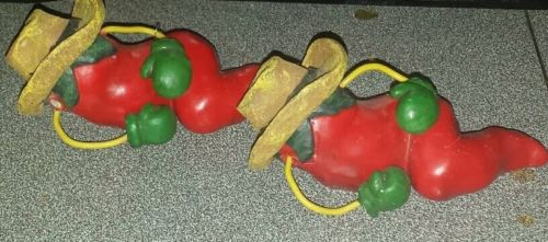 Set of 2~Cute Red Chili Pepper Figurines~ Southwest Style Kitchen Decor