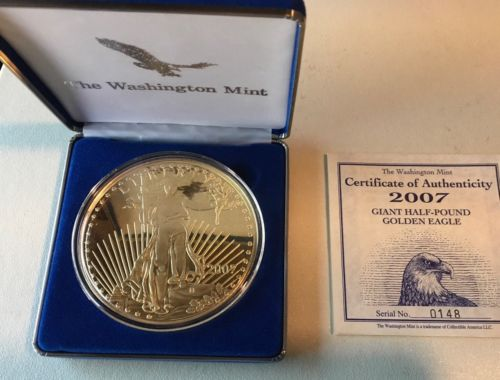 2007 Giant Half Pound Silver Proof Golden Eagle With COA.
