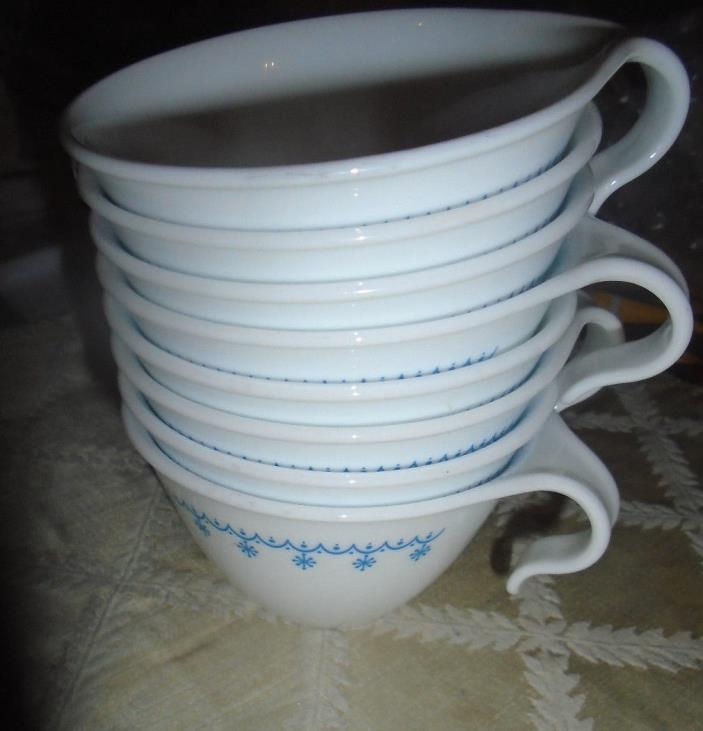 8 CORNING (Corelle) SNOWFLAKE BLUE COFFEE CUPS  HOOK