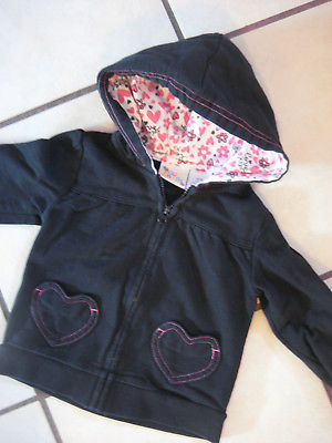 Girls Black Jacket Size 18 Months Full Zip Hoodie Style Heart Shaped Pockets