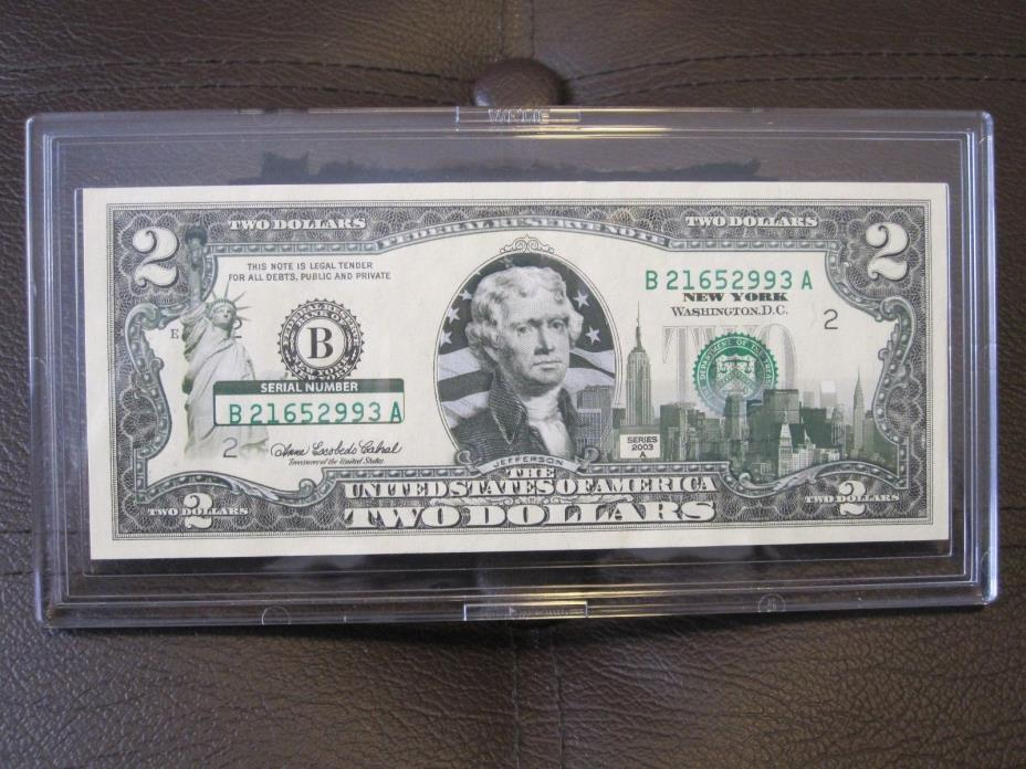 New York $2 Two Dollar Bill Colorized State Landmark Uncirculated 2003-A