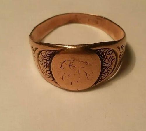 Victorian Ostby Barton Ornate 10k Rose Gold Mens Signet Ring Sz 11 4.5 Grams
