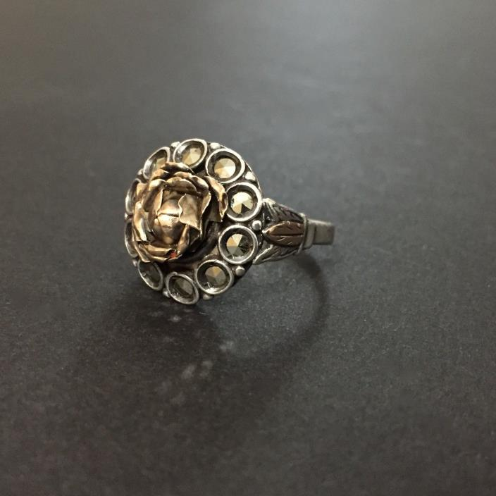 Antique Silver Victorian Rose Marcasite Ring Size 8.25