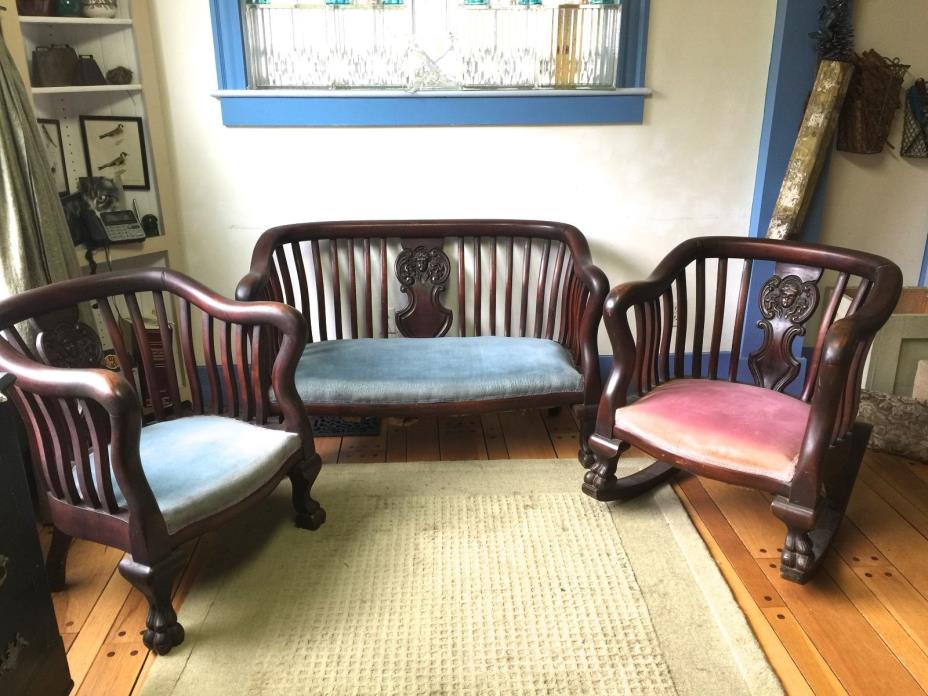 Antique Empire Loveseat and Chair, Rocker~Carved Goddess