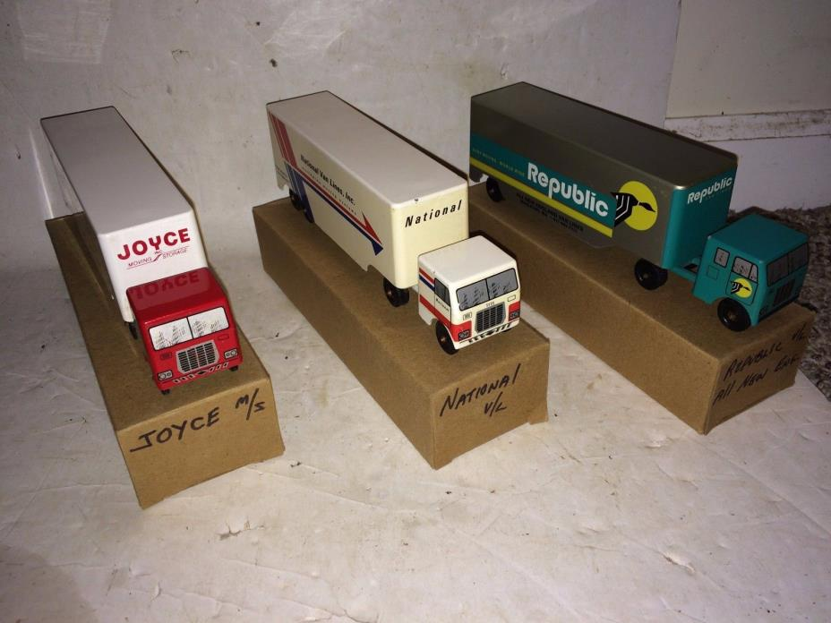 3 Vintage Ralstoy 1960 Van Line Tractor Trailer Trucks,Joyce,Republic,National