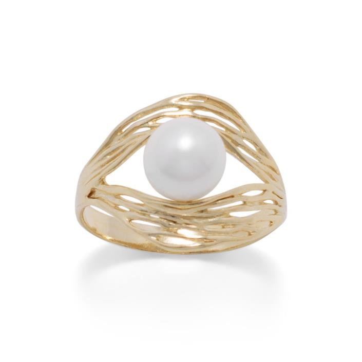 14 Karat Gold Plated Ornate Wave Design and Cultured Freshwater Pearl  Sizes 6-9