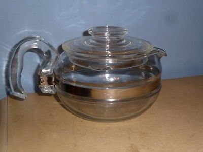 USED VINTAGE PYREX 6 CUP BLUE TINT FLAMEWARE GLASS STOVETOP TEAPOT KETTLE #8446