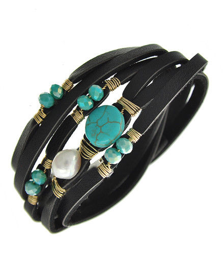 Black Leatherette Multiple Bands w/ Gold Tone Wire, Turquoise & Pearl Accents