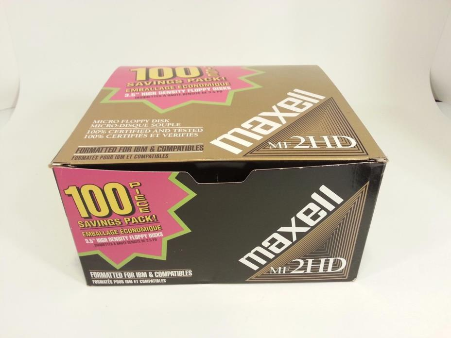 94 Maxell Diskettes MF2HD PC Formatted 1.44 MB 3.5 PC Floppy Disks - New In Box!