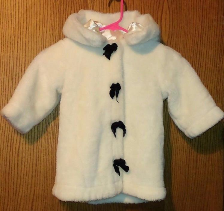 The Children's Place Girl's 24 Months White Faux Fur Hooded Lined Coat W/Bows *Q