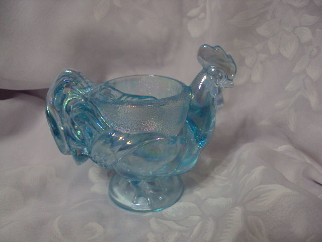 Vintage Imperial Blue Carnival Glass Rooster Iridescent Votive Candle Holder
