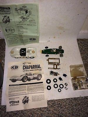 2 Vintage 1960s 1/24 Slot Cars,K & B Aurora Chaparral 1804,Champion,Motors,Parts