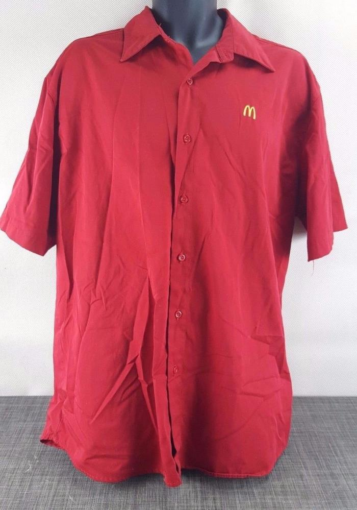 McDonald Fast Food Chain Crew Employee Work Mens Dress Shirt Size XL