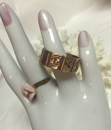 Victorian 14K ROSE GOLD ENGRAVED DECAGON WEDDING BAND RING (8-8.5)-3 Gram-Estate