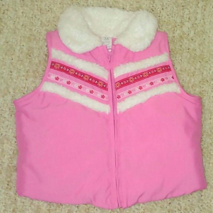 Girl's Size 12 Months Fleece Collar Pink Fall/Winter Outer Vest Carter's *C