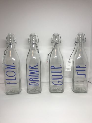 Rae Dunn Bail And Trigger Bottle Set Blue Gulp Sip Drink Flow Set of 4 NWT