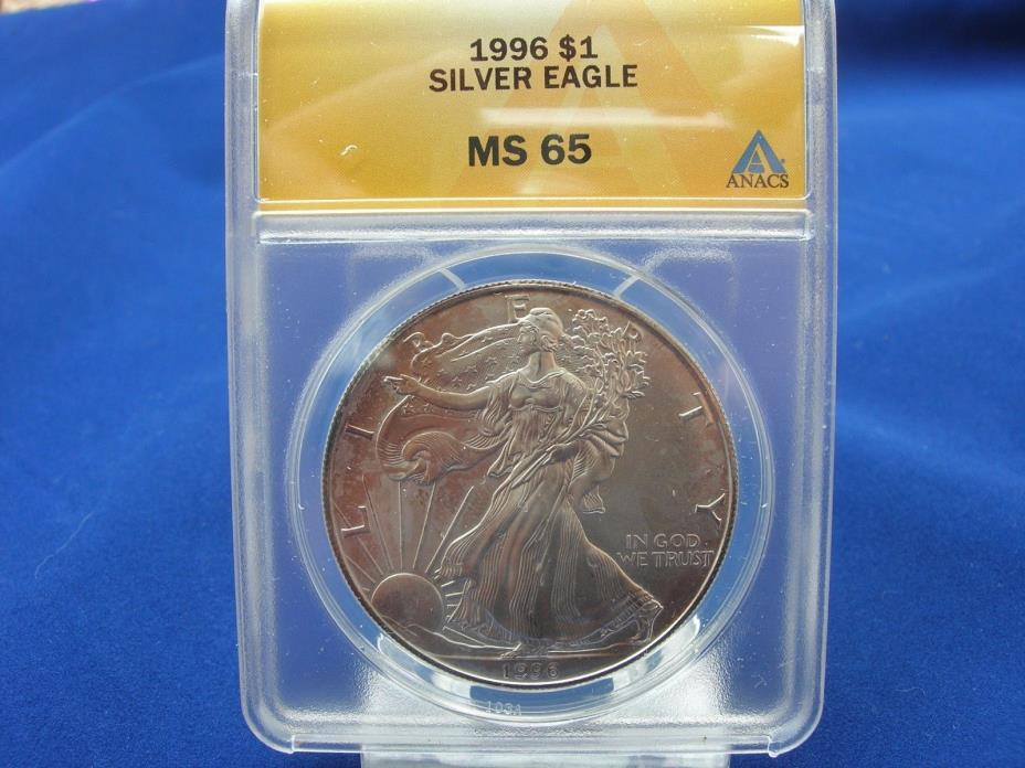Beautiful 1996 American Silver Eagle ANACS MS65 with Some Toning Key Date