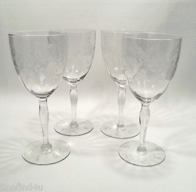 Crystal by Standard Glass Etched  Cut 136 Circa 1932 Stems 4 - 7 1/4