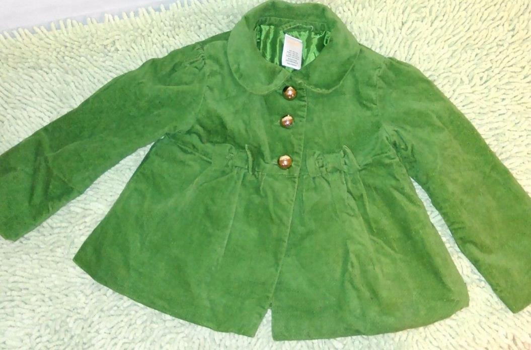 Gymboree Girl's 2T-3T Merry Green Lined Peacoat W/Bows Holiday Beautiful *Q