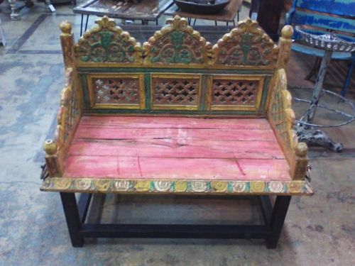 Antique Bench Ornate Wrought Iron Base Multi Color Made from Swing