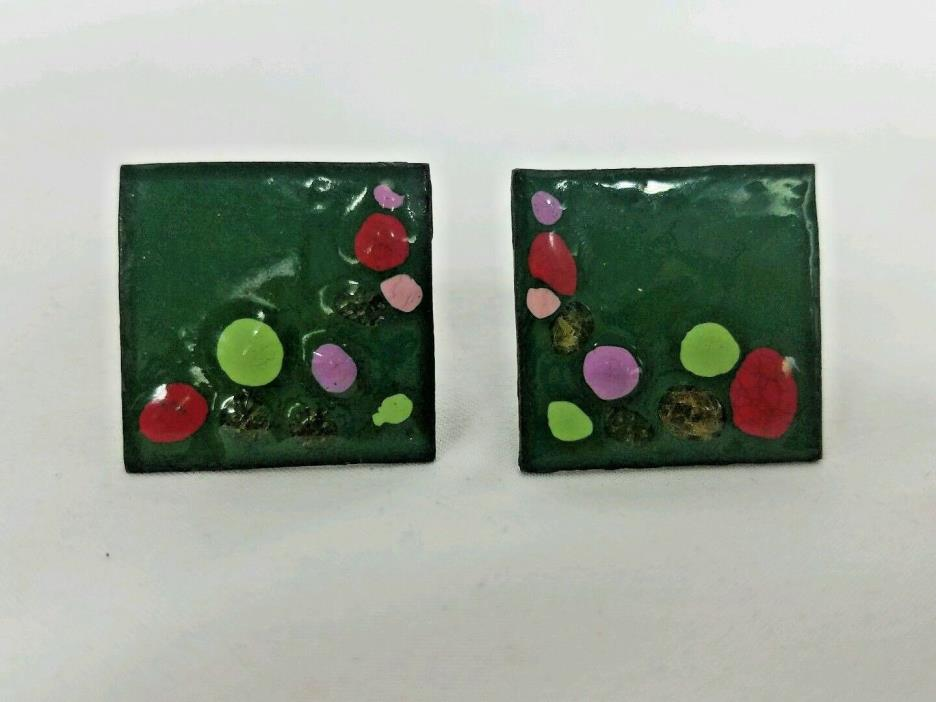 Modernist Vtg Green Enamel Over Sterling Hand Painted Red Purple Topaz Cufflinks