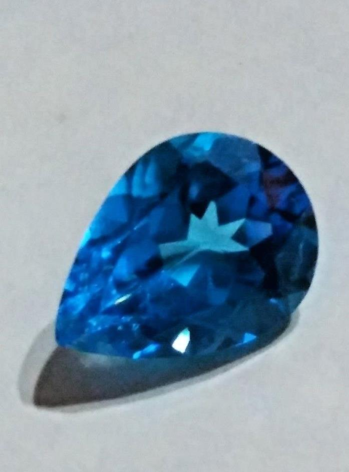 Natural Vivid Blue Topaz 8.8ct Pear Cut GemStone Beautiful AAA Color 16 x 12 mm
