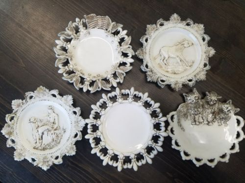 Vintage Lot of 5 White Milk Glass Plates