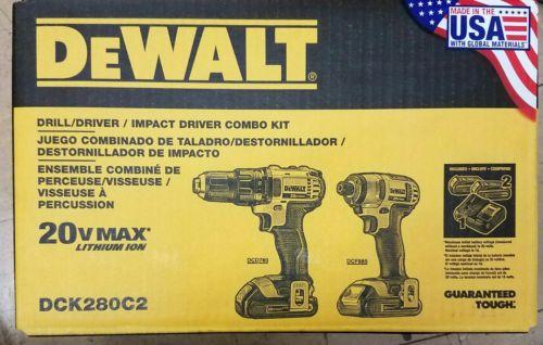 Dewalt DCK280C2 Drill/Driver & Impact Driver 20v Combo Kit New