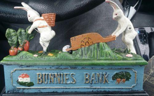 BUNNIES BANK CAST IRON MECHANICAL BANK, EASTER BUNNY