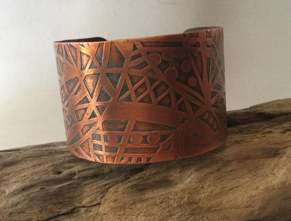 Hand Crafted Hand Drawn Design Etched on Copper Cuff. Small, about 5 1/2