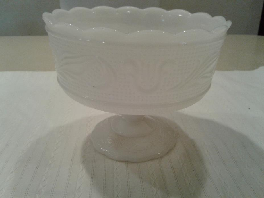 E O Brody Co M6000 Cleveland Ohio Milk Glass Compote Pedestal Candy Dish Mint
