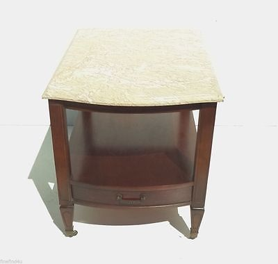 VTG HAMMARY PORTUGUESE MARBLE TOP MAHOGANY DRAWER & SHELF SIDE END TABLE *NICE*A