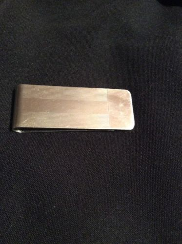 Vintage Tiffany & Co Sterling Silver Engine Turned Strip Money Clip Holder Pouch