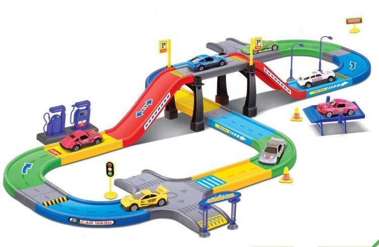 Track Racer Set Slot Car Race 3 Diecast Cars Road Racing Cars Fun Toy For Kids